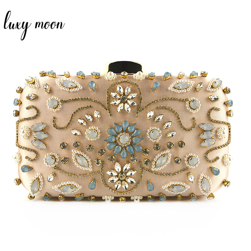 Luxury Crystal Evening Bag Handmade Style Rhinestones Pearl Women Clutch Bags Vintage Satin Lady Party Wedding Clutches Purses цена