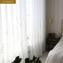 Современные белые занавески для гостиной с вышивкой, роскошные занавески для кухни, спальни, простые тюлевые занавески на окно