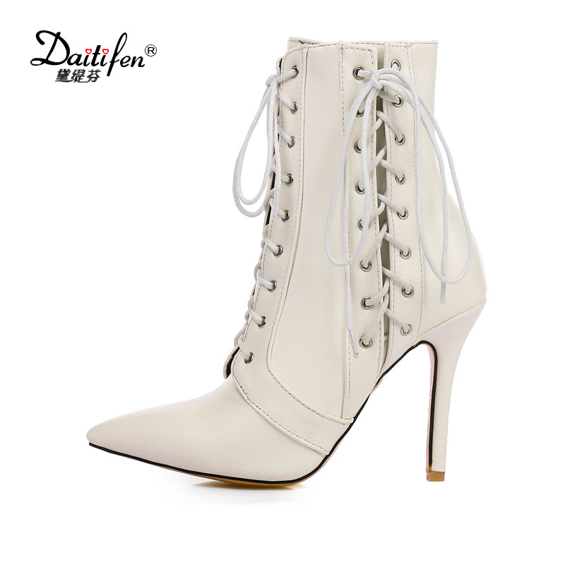 Daitifen  fashion women ankle boots shoes new autumn winter high heels pointed toe lace up woman dress party casual short boots z design z design zd002ewhri00
