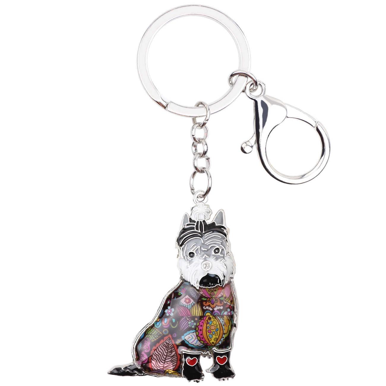 Bonsny esmalte dulce Schnauzer perro llaveros anillo Animal mascotas joyería bolso coche monedero llavero chica señora nuevo accesorio de moda