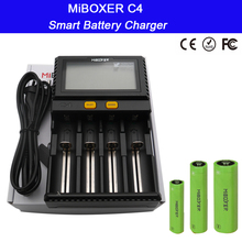 Wholesale LCD Smart Battery Charger Miboxer C4 for Li-ion IMR ICR LiFePO4 18650 14500 26650 21700 AAA Batteries 100-800mAh 1.5A rechargeable battery charger c2 3000 portable lighting accessories c2 3000 miboxer 2 channel for li ion ni mh imr icr