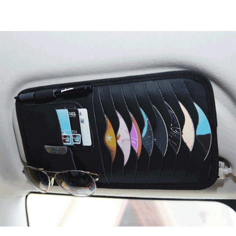 Кожаный Автомобильный автомобильный козырек, противосолнечный щиток CD держатель для очков