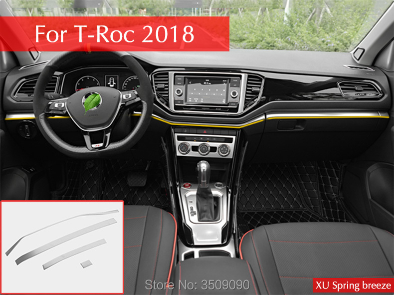 Car Center Control Edge Trim Interior Accessories Car Styling 4Pcs/Set For VW T Roc 2017 2018