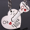 2Pcs/Set Couple Heart Key I Love You Letter Carved Matching Keychain Key Ring