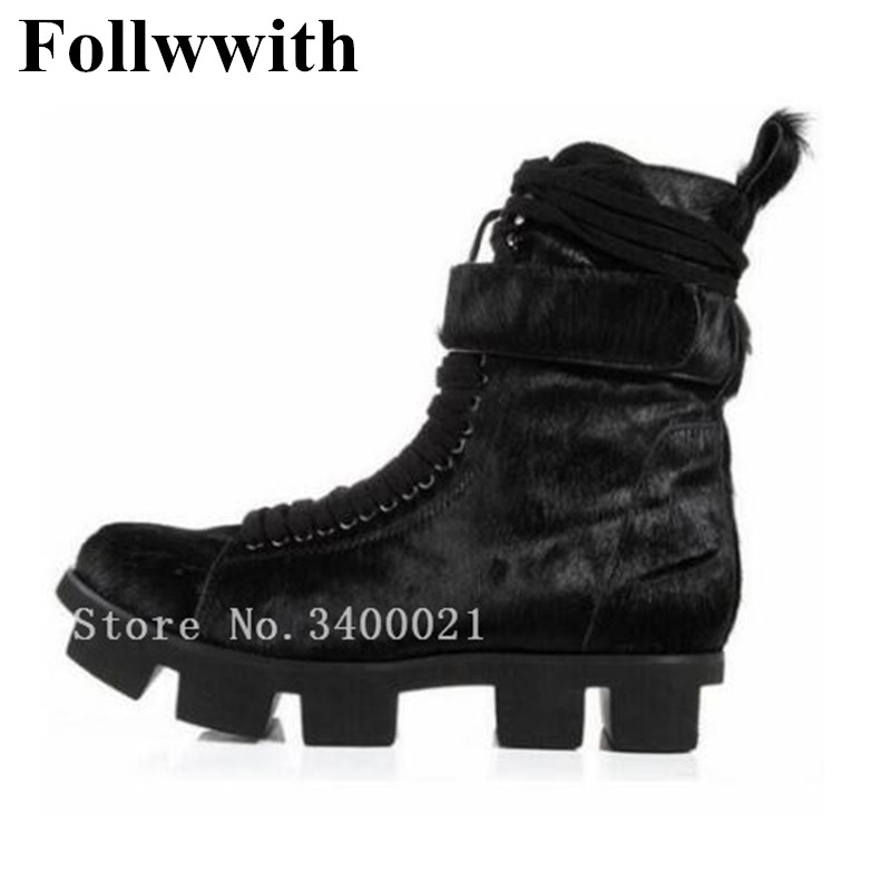 2018 Winter Black Flock Horsehair Fur Top Quality Cool Men Boots Platform Thick Heel Cool Men Shoes Men Shoes Plus Size 46