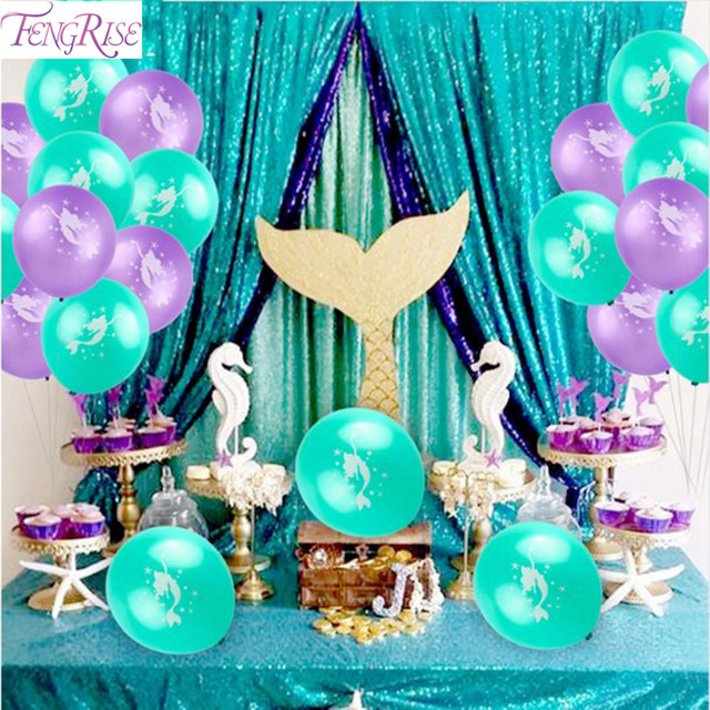 FENGRISE Mermaid Party Wedding Decoration Baby Shower Little Mermaid Birthday Party Supplies Decorations Kids Balloons