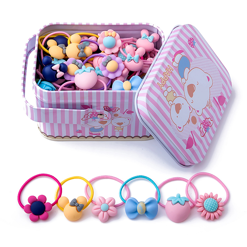 New Fashion 40Pcs/lot Headband Flower Bow Hair Accessories Cute Cartoon Children Elastic Bands Baby Girl Gift Hairband Tin Box free shipping 2 colors newborn kid girl elastic flower headband hairband hair accessories