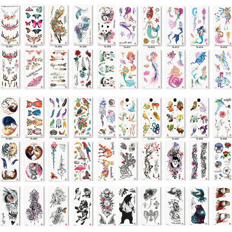 110pcs/lot Fake Women Men DIY Henna Body Art Tattoo Design  Butterfly Tree Branch Vivid Temporary Tattoo Sticker