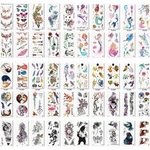 Image 1 - 110pcs/lot Fake Women Men DIY Henna Body Art Tattoo Design  Butterfly Tree Branch Vivid Temporary Tattoo Sticker