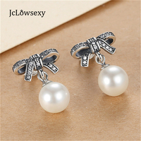 New Authentic 925 Sterling Silver Silver Dazzling Crystal Bow Droplets White Pearl Earrings For Women Wedding