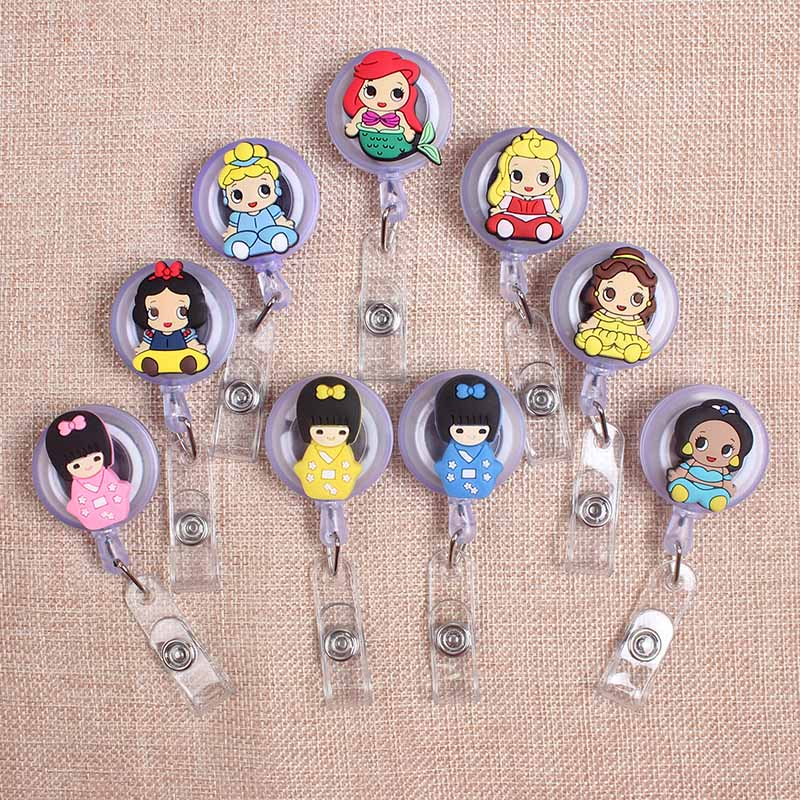 Cartoon Cute Mermaid Girls Styles Clown Retractable Creative Badge  Card Holder Reel Nurse Exhibition Enfermera  Name Card Chest