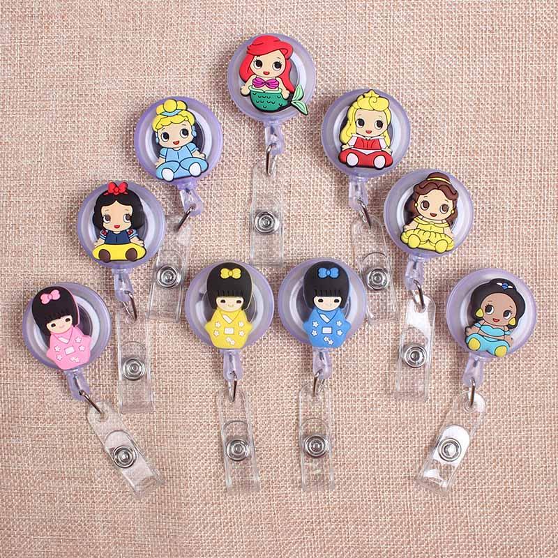 Cartoon Cute Mermaid Girls Styles Clown Retractable Creative Badge  Card Holder Reel Nurse Exhibition Enfermera  Name Card Chest