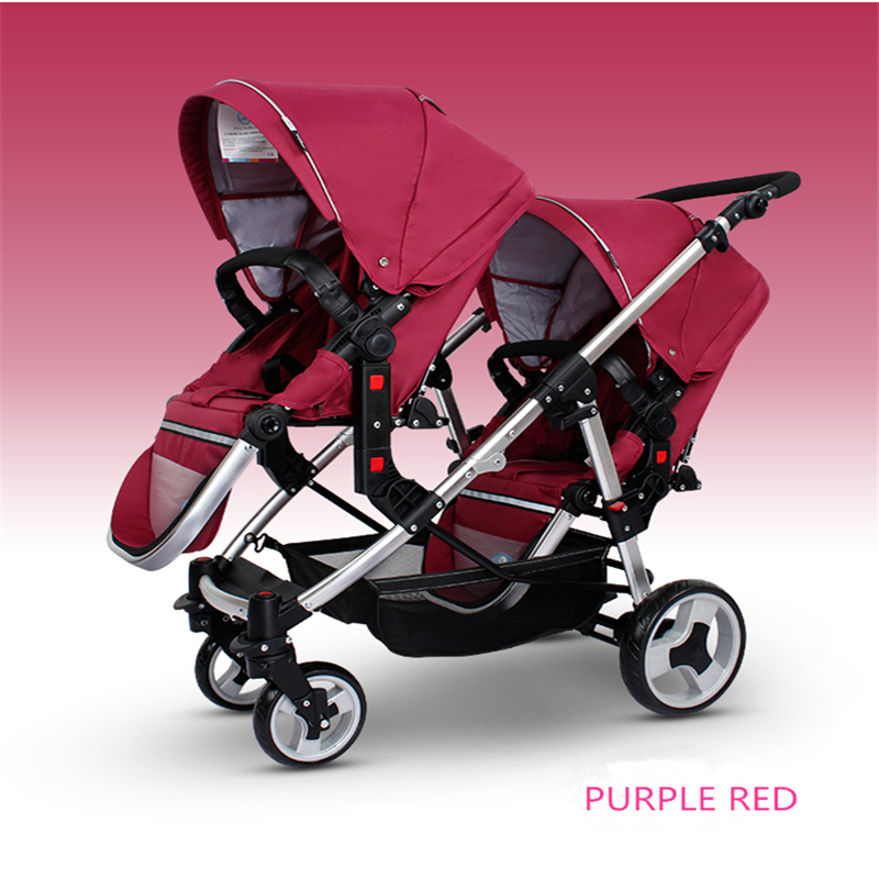 Fashion High landscape Lightweight Folding Twins Baby Stroller 2 Baby Trolley Can Sit & Lie Before & After Can be Split angelguard high landscape twins baby stroller can split ultra light umbrella can be two color twins baby stroller