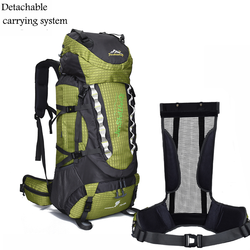 70+10L Unisex External Frame Travel Backpack Travel Waterproof Nylon Hiking Backpacks Outdoor Trekking Camping Bag For Mounting цена