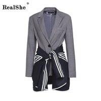 RealShe Plaid Blazer Women Long Sleeve Womens Fashion Blazer Multicolor Shawl Collar Pocket Casual Blazer Two Pieces
