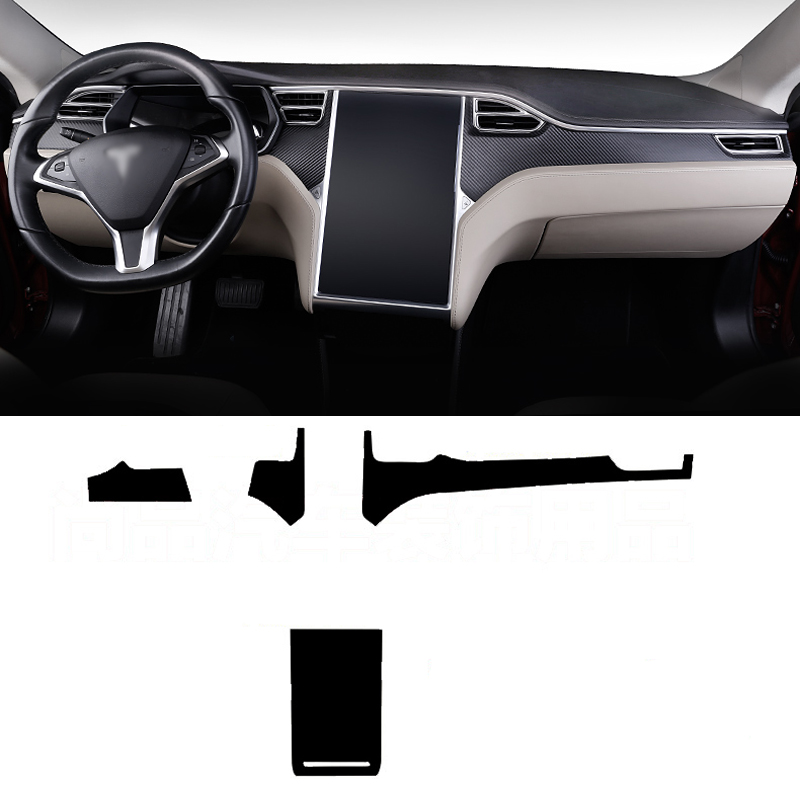 Autocollant de changement de couleur pour Console centrale intérieure de voiture 3D en Fiber de carbone pour Tesla Model X/Model S