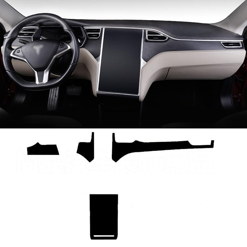 Voiture-Style Nouveau 3D En Fiber De Carbone De Voiture Intérieur Center Console Couleur Changement Moulage Autocollant Stickers Pour Tesla Modèle X /modèle S