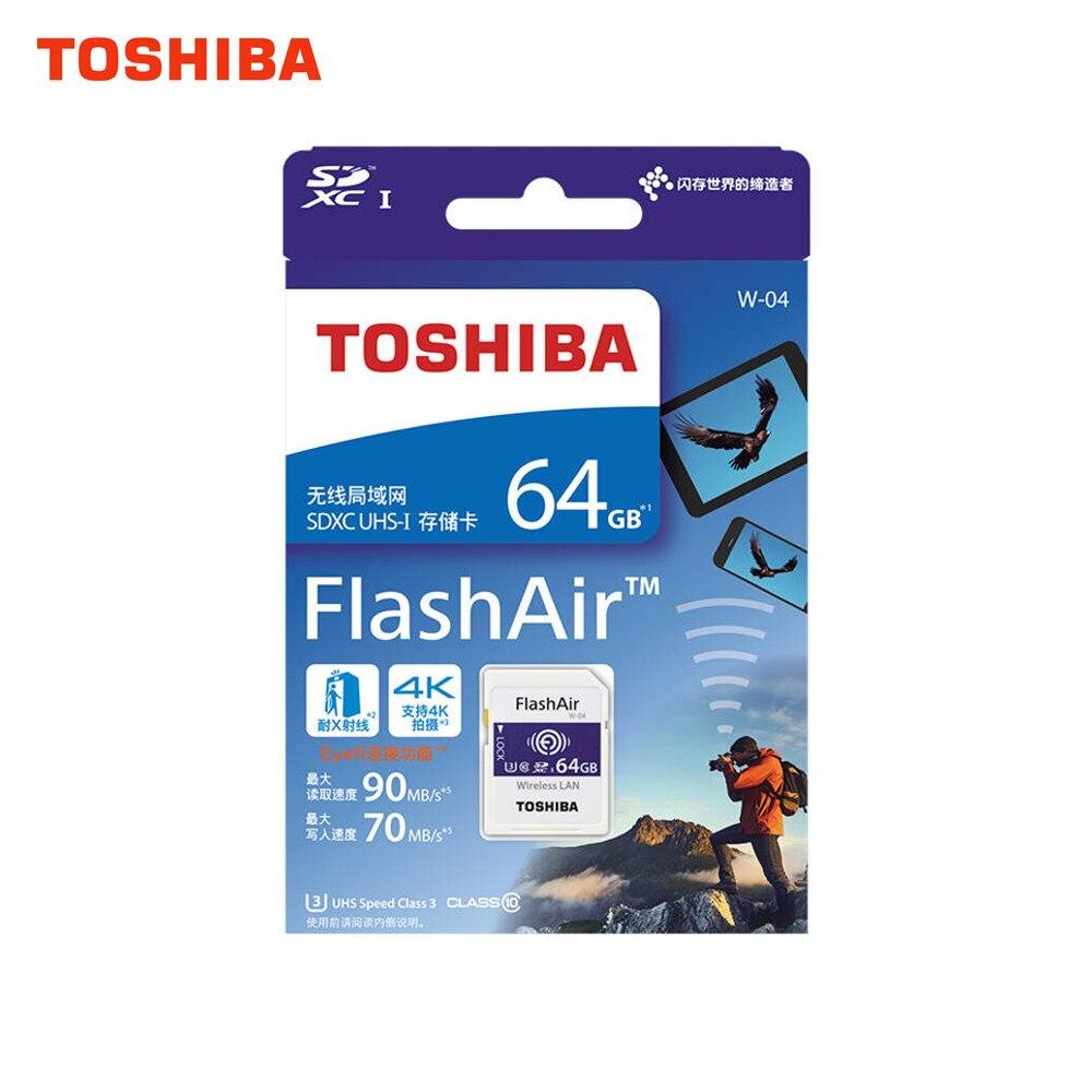 TOSHIBA W-04 Memory Card Wireless LAN 32GB 64GB WiFi SD Card 64GB Class 10 U3 cartao de memoria Flash Memory Card support 4K карта памяти other 32gb 10 memoria microsd 32g cartao memoria 32 sd 32gb memoria sd