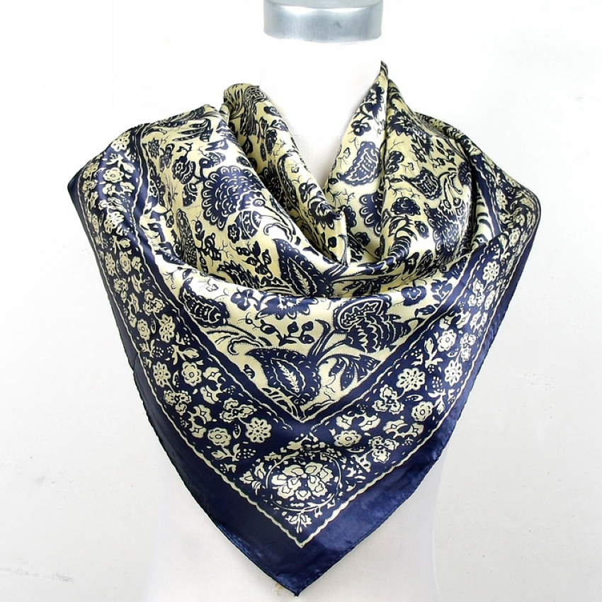 [BYSIFA] New Black And White Chain Square Silk Scarf Shawl Fashion New Style Satin Square Scarf Printed Man Silk Scarf 90*90cm