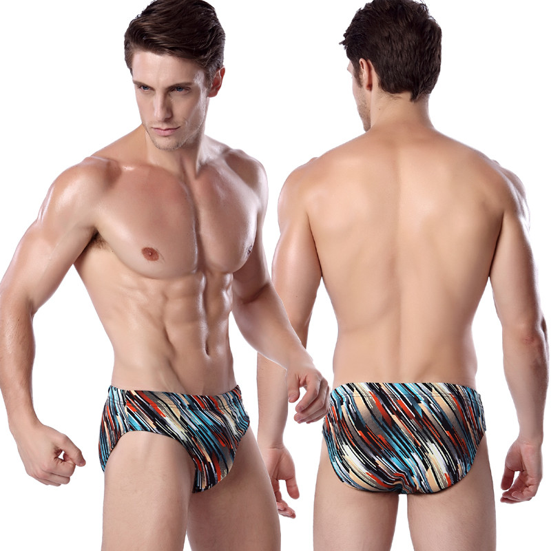 Stripe Men Swimming Briefs 2016 Hot Sale Swimwear Sexy 3D Print Bathing Shorts Strong Trunks Man Boxer Swim Trouser HQMS011