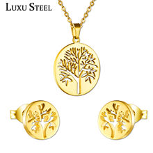 LUXUSTEEL Ladies Jewellery Sets Stainless Steel Gold/Silver Color Tree Pendant Necklace Earring Fashion Chain Jewelry Gift(China)