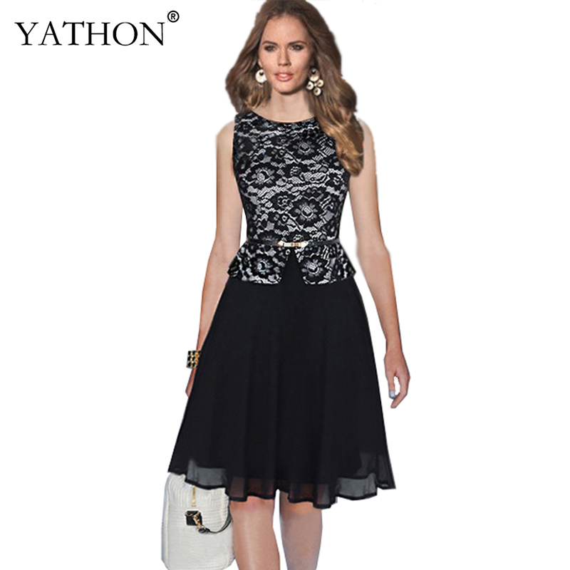 YATHON Womens Black Lace Chiffon Dot Print Patchwork Occasion Party Evening Ball Gown Dresses Summer Work