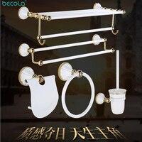 BECOLA Bathroom Hardware Set White Bathroom Pendant Polished Toothbrush gold Towel Bar Paper Holder Cloth Hook Bathroom