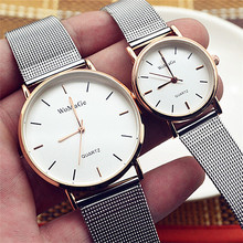 Fashion Womage Brand Man Woman Lovers Reloj Mujer Brand Luxury Mesh Stainless Steel Strap