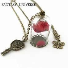 FANTASY UNIVERS Livraison Gratuite 1 pc un lot Beauté et La Bête Enchanté Rose en Terrarium et miroir charme collier MVYS01