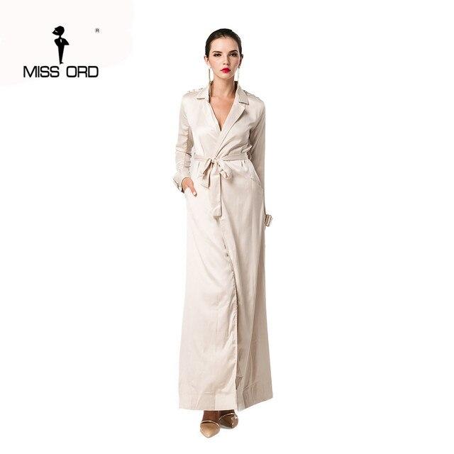 Missord 2017 Sexy V-образным Вырезом с длинными рукавами пояса макси куртка FT8007-2