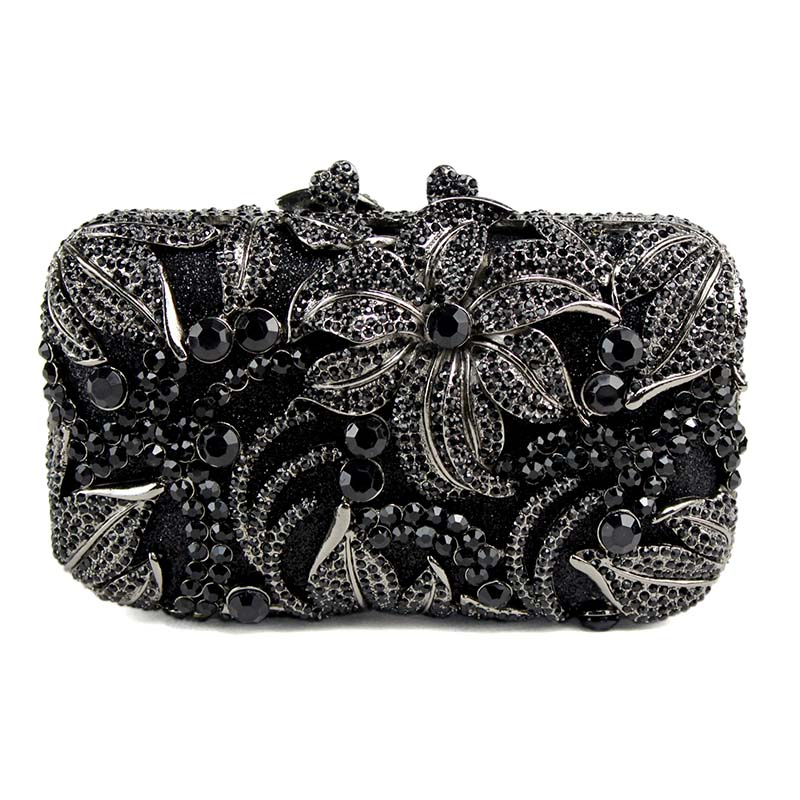 Black Women Bag flower shape studded diamond clutch bags fashion classic jewel Purse prom and drinking party Or the party 88611 aidocrystal heart shape factory direct sell fashion woman diamond clutch for lady