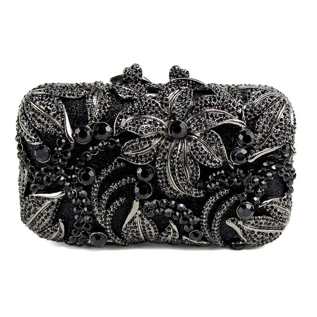 Black Women Bag flower shape studded diamond clutch bags fashion classic jewel Purse prom and drinking party Or the party 88611