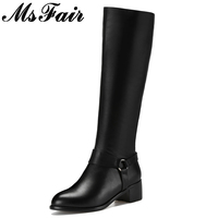 MsFair Pointed Toe Square Heel Women Boots Mid Heel Knee High Ladies Boots Winter Women Short