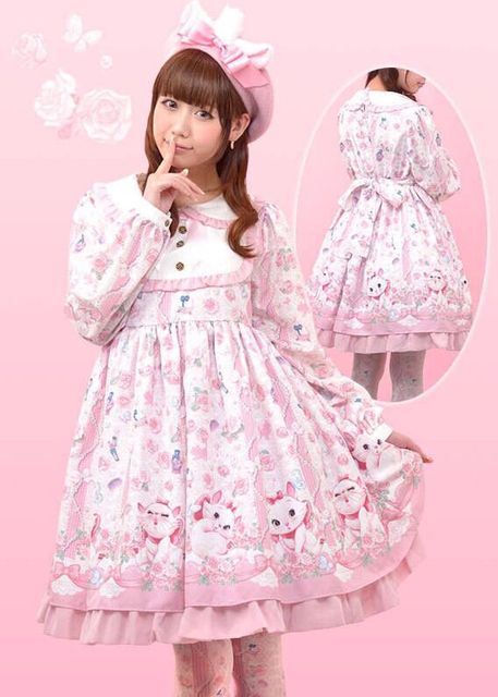 Super Cute Girls Marie Cat Kiss Me Cat Pink Lolita Dress