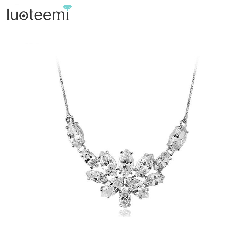 LUOTEEMI Free Shipping Blossoming of Love Marquise cut CZ font b Necklace b font for Women