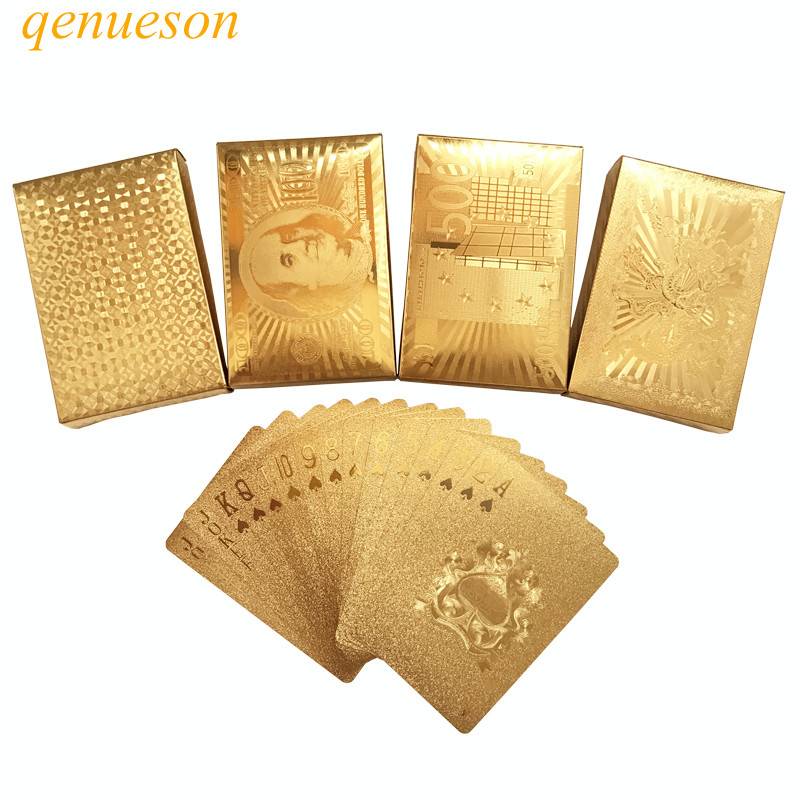 High Quality 24 Karat Gold Foil Plated Texas Holdem Plastic Playing Cards Waterproof Poker Cards Board Games 58 * 88mm qenueson