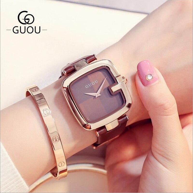 GUOU Women Watches New Personality Square Women's Wrist Watch Fashion Lady Watch Genuine Leather Quartz Watch relogio feminino