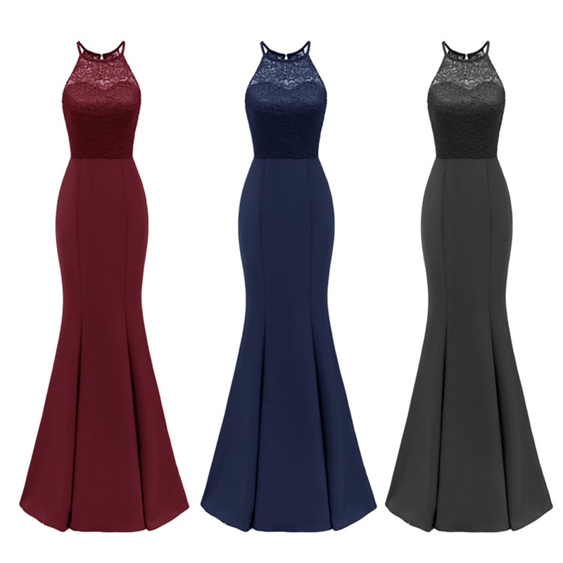 Wei Yin 2019 Navy Blue Mermaid Evening Dress Long Sexy Sleeveless Lace Formal Celebrity Evening Gown Dresses Robe Longue WY1701