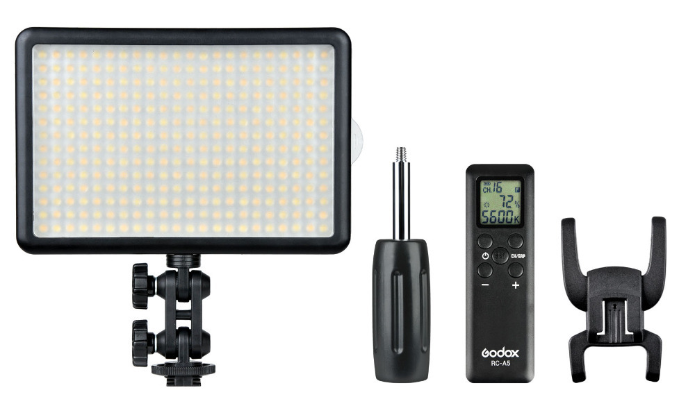 Godox LED308C 308PCS LED Ultra High Power Dimmable Video Light with Built-in LCD Panel 16CH Wireless Remote Control godox professional led video light led308y yellow version wireless 433mhz grouping system 308 led bulbs of high brightness