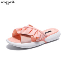 WHOHOLL 2019 Summer New Women Flat Platform Slippers Pink Black Fashion Versatile Open Toe Beach Slippers Shoes Ladies Sandals