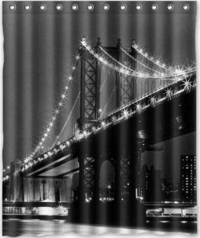 Custom New York Brooklyn Bridge Clic Home Setting Bathroom Decoration Shower Curtain With High Quality Print