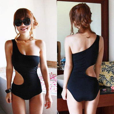 цены  2016 Sexy One Piece Swimsuit Bandage For Women Solid One shoulder Cut Out Monokini Swimwear Bathing Suit bodysuit Black