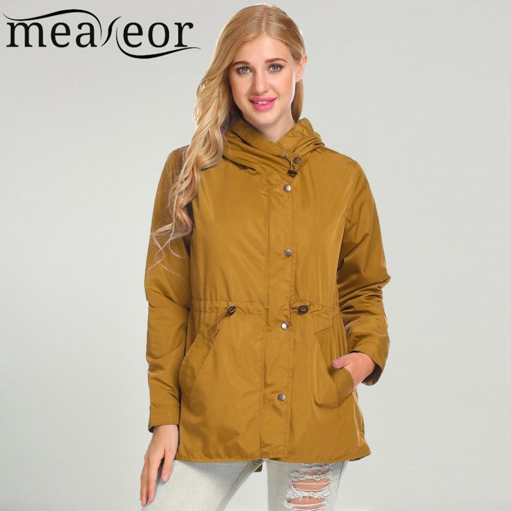 Meaneor Women Winter Jacksts Coat Casual Hooded Long Sleeve Zipper Lightweight Solid Thick Windbreaker Warm Jacket Autumn Tops