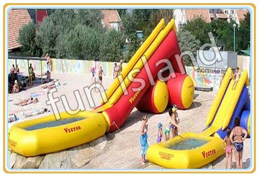 Venta caliente de grado comercial de lona de PVC de nuevo más grande inflable tobogán de agua con piscina