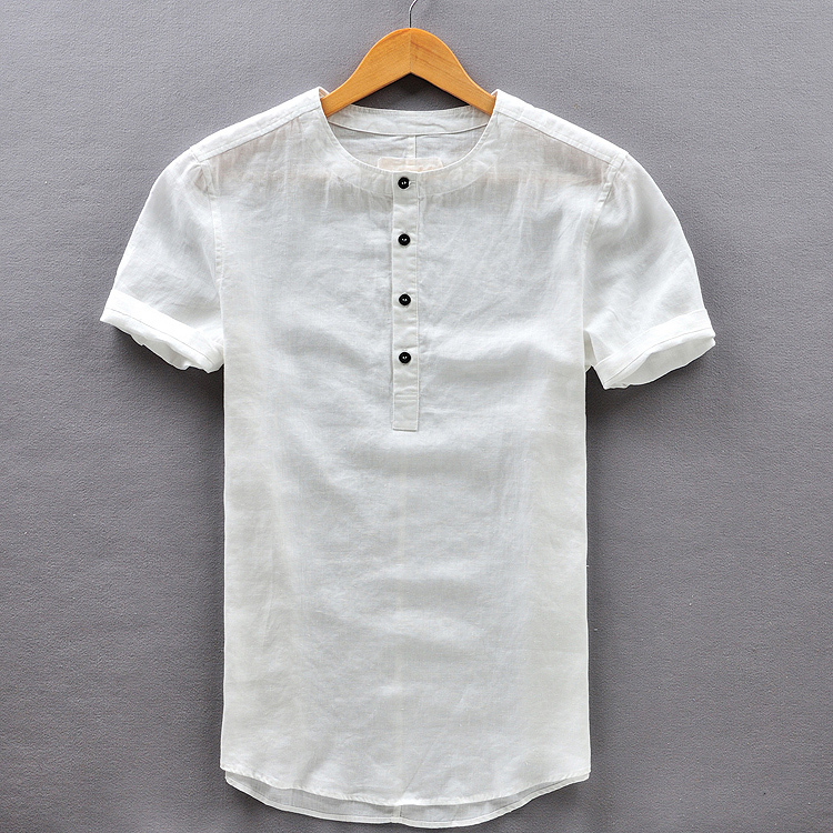 Mens White Collarless Shirt - Greek T Shirts
