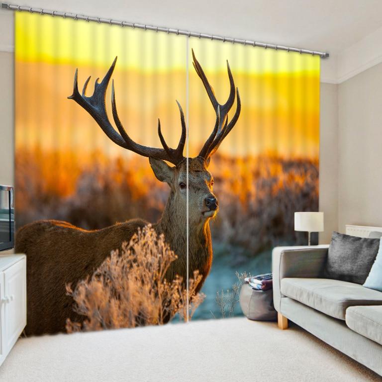 Grassland animal deer digital photo 3d emulation print shade fabric living room curtains finished