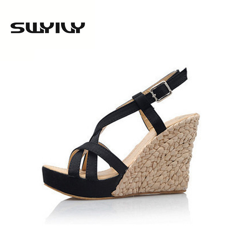 ФОТО Bohemian Roman Slope Plus Size 34-43 Sexy High Waterproof Sandals 2017 New Women Wedge Pumps Summer Shoes