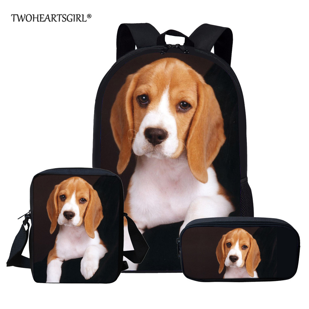 Twoheartsgirl Beagle School Bag Set For Teen Boys Girls Cute Student Kids Schoolbag Children School Backpack Custom Bookbags