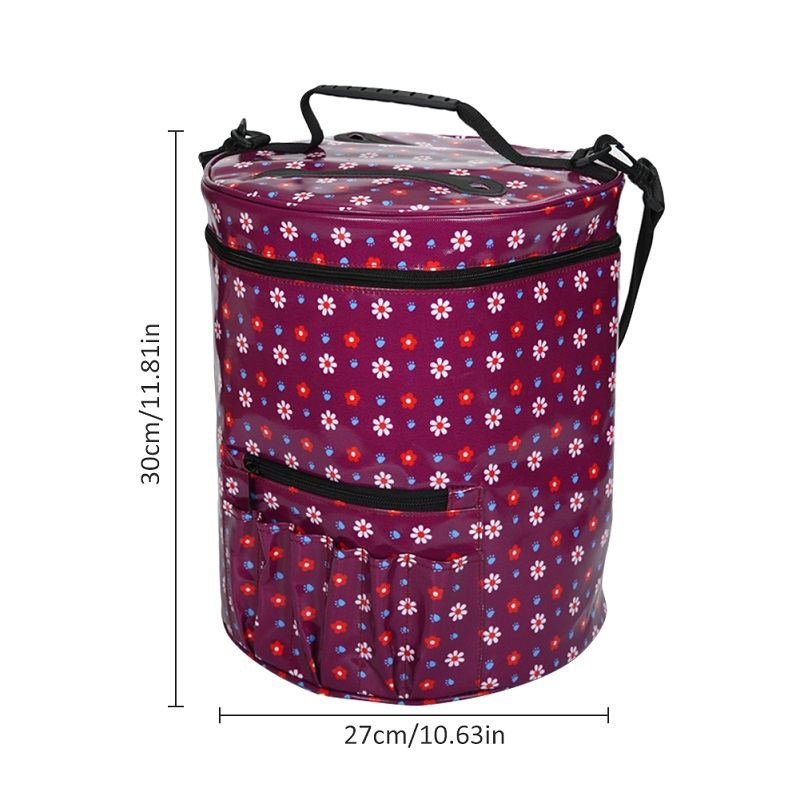 c2bd297145a75 Waterproof Canvas Floral Pattern Cylinder Yarn Organizer Crocheting Fabric  Crafts Empty Knitting Needles Storage Bag-in Storage Bags from Home &  Garden on ...