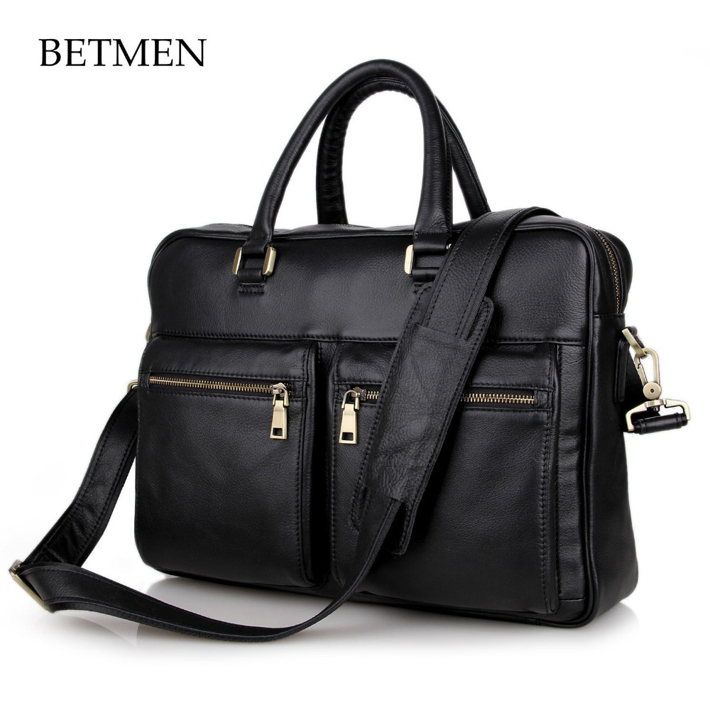BETMEN Brand Men Handbag Genuine Leather Bag Business Men Briefcase Laptop Bag Vintage Male Shoulder Bags